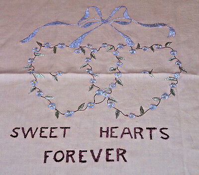 "Antique ""society Silk"" Embroidered Pillow  ""sweet Hearts Forever"", Fabulous 1920"