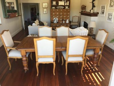 Extendable Antique Pine Table Dining Set