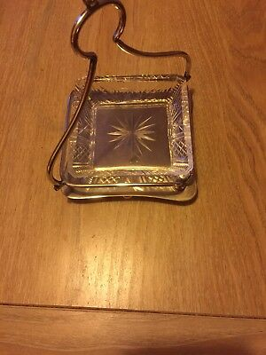 Silver Plated Bon Bon Dish With Handle And Glass Tray