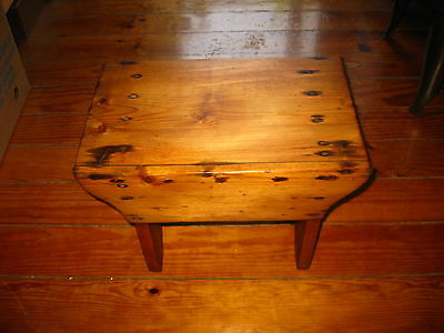 ANTIQUE EARLY PRIMITIVE HAND MADE WOOD WOODEN PINE KITCHEN BENCH RARE 1900s