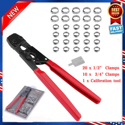 """PEX CINCH Crimping Tool Crimper w/ (20)1/2"""" & (10) 3/4"""" Stainless Steel Clamps X"""