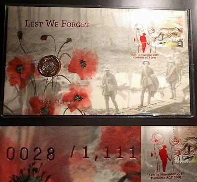 SOLD OUT 2017 Limited Edn Remembrance Day $2 PNC, Low #028/1111, Foil Postmark