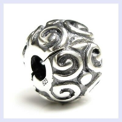 Sterling Silver Swirl Flower Clip Lock Stopper Bead for European Charm Bracelet