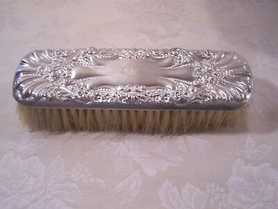Antique Sterling Silver Ornate Monogrammed Horse Hair Clothing / Vanity Brush
