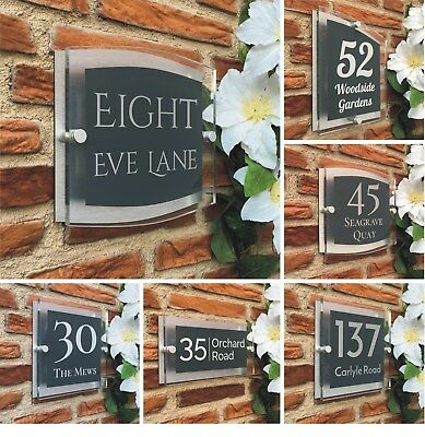 House Sign Anthracite Grey Door Number Plaque Modern Personalised Acrylic Street