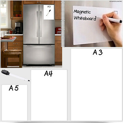 A3 & A4 Magnetic Whiteboard Plain Dry Flexible Memo Notice Fridge Planner Magnet