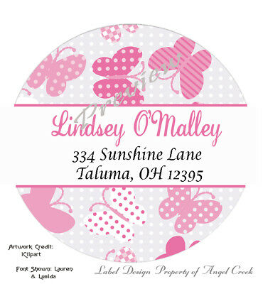Country Pink Polka Dot Butterfly Round Address Labels Stickers 3 Size Choices