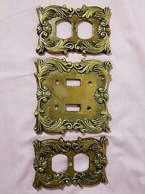 Solid Brass Vtg Double Light Switch Cover Plate 052 & 2 double Outlet Cover 027