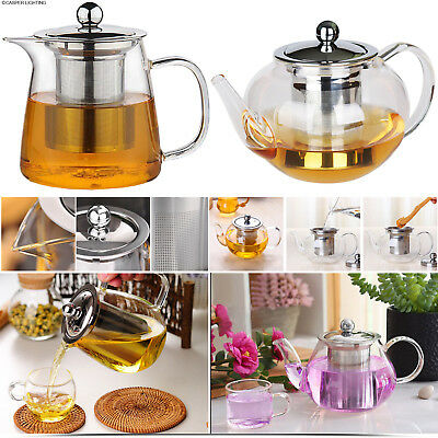 Heat Resistant Clear Glass Teapot With Infuser Infusion Coffee Tea Leaf Herbal