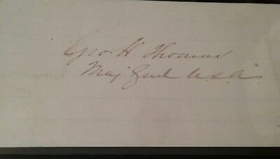 General George H Thomas autograph  civil war rock of chickamauga