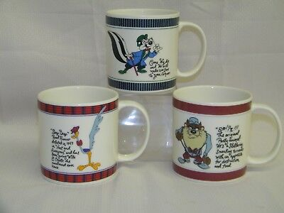 3- 1992 Warner Bros Studio Mugs, Road Runner, Pepe & Taz