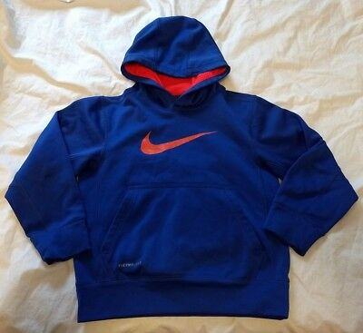 """Nike Therma-Fit Youth  S Small Blue """"swoosh"""" L/s Hoodie Sweatshirt Pullover"""