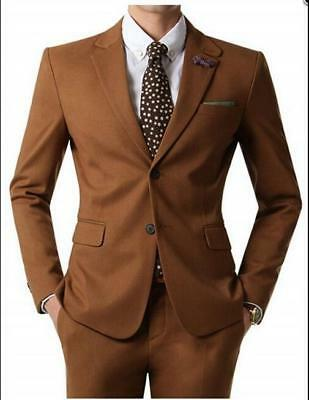 Men's Brown Blazer Groom Tuxedo Formal Suit Wedding Suits Custom Made