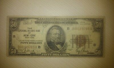1929 $50 Federal Reserve Note New York NY