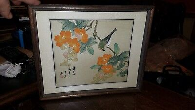 Antique Chinese Painting On Silk Estate Piece Important Flowers & Bird in a tree