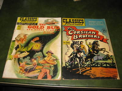 Classics Illustrated The Gold Bug #84 HRN85 The Corsican Brothers #20 HRN78 G/VG