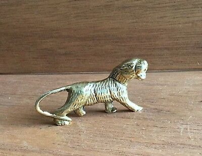 """Vintage Solid Brass Lioness Statuette Figure Collectable  2 3/4 x 3/4 x 1 1/2"""""""