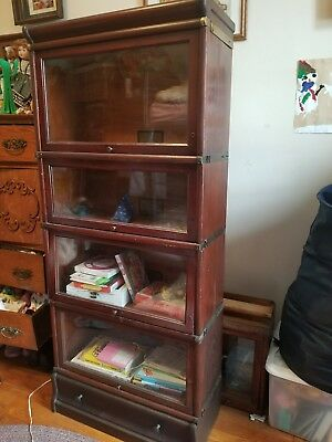 Antique Globe  Wernicke 3/4 Barrister Lawyers Bookcase