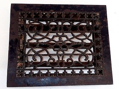 Antique Victorian 1886 Tuttle & Bailey Cast Iron Floor Register Grate & Louvers