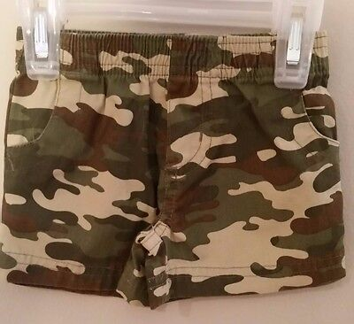 18 mo. field camo shorts green, brown tan pull up waist faux fly and pocket SALE