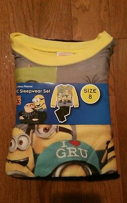 NEW Despicable Me 3 Minions Boys 2 Piece Flannel Pajama Sleepwear Set Size 8