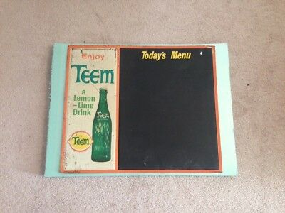 Vintage Teem Soda Lemon Lime Chalkboard Menu Advertising Sign Pepsi