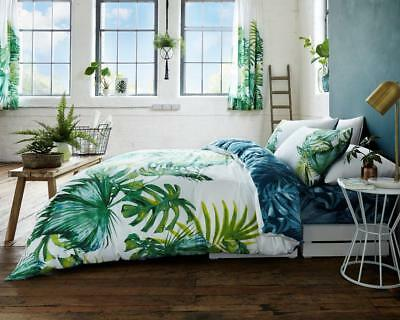 Tropical Leaf Printed Polycotton Duvet Quilt Cover With Pillow Cases Bedding Set