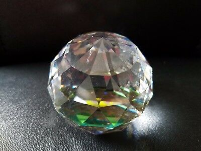 "Vtg  Swarovski Crystal Rainbow Prism Ball Paperweight  Signed Sc 2 1/4"" H 11Oz"