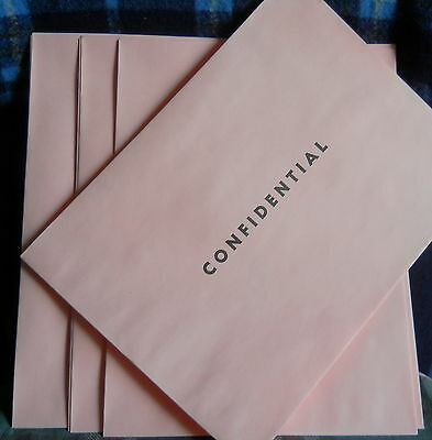 "PINK ENVELOPE 9"" X 12' printed**CONFIDENTIAL* 7 (seven) per lot"