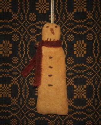 Primitive Stitchery Ornament ~ Skinny Snowman with Red Scarf ~ Christmas/Winter