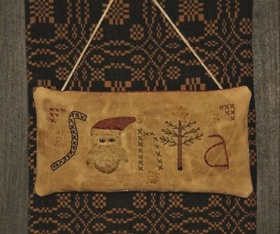 Primitive Stitchery Pillow/Ornament ~ Santa Stitched Out in Pictures ~ Christmas