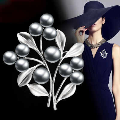 Sliver Plated Bunch of Flower Multi Pearl Creative Brooches Pin Women Jewelry