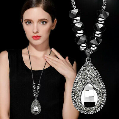 Luxury Vintage Waterdrop Black Bead Long Pendant Necklace Wedding Party Jewelry