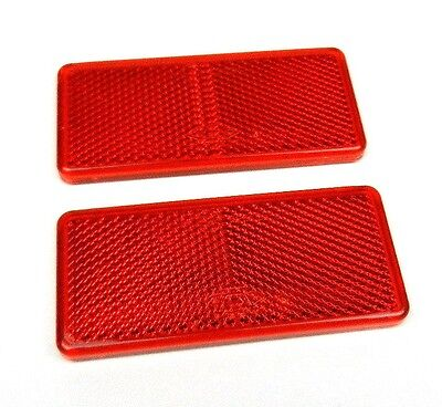 RED REFLECTORS SELF ADHESIVE RECTANGULAR 90 x 40 mm E-APPROVED PAIR SET