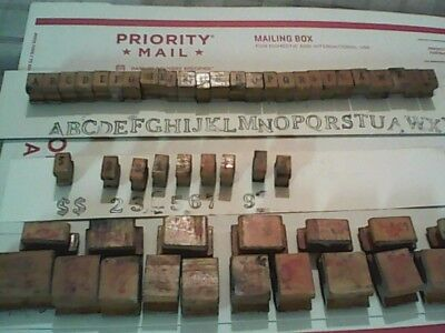 Antique Wood / Rubber Block  Press Stamps 15 Animals Elephant  All 26 Letter