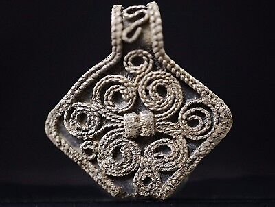Ancient Viking Hammered Silver CROSS. Norse Pendant Amulet, circa 950-1000 AD.
