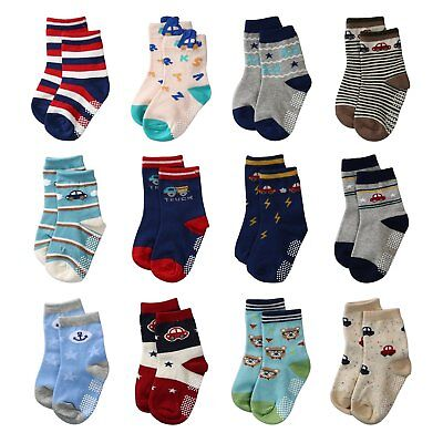 La Volupte Baby Boys Ankle Cotton Socks Toddler Non Skid with Grip 12 Pairs