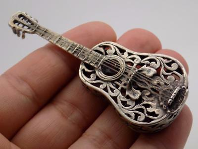 Vintage Solid Silver Italian Made LARGE Guitar Miniature, Figurine, Stamped