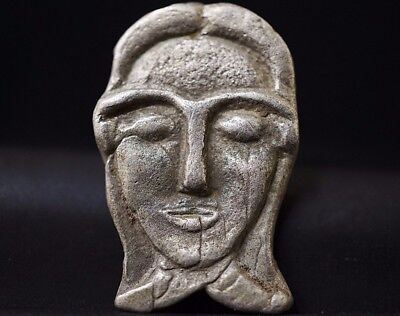 Ancient Viking Silver Amulet depicting Head of Norse Goddess, circa 950-1000 AD.