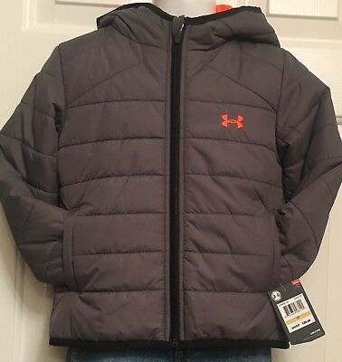 $60 Under Armour Coldgear Hooded Gray W/trim Puffer Jacket Coat Boys Size 3T Nwt