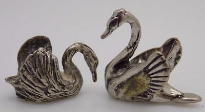 Vintage Solid Silver Italian Made Swan Miniatures, Figurines, Stamped