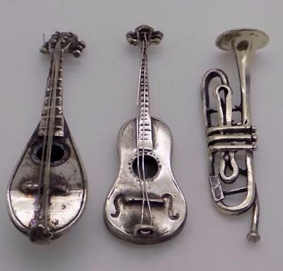 Vintage Solid Silver Italian Made Music Instrument Collection, Job Lot, Stamped