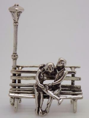 Vintage Solid Silver Italian Made Lovers on a Bench Miniature, Figurine, Stamp