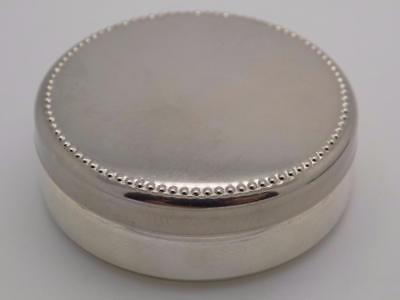 Vintage Solid Silver Italian Made Round Pill / Snuff Box, Stamped