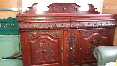 Victorian sideboard - ANTIQUE PINE CARVED VICTORIAN SIDEBOARD
