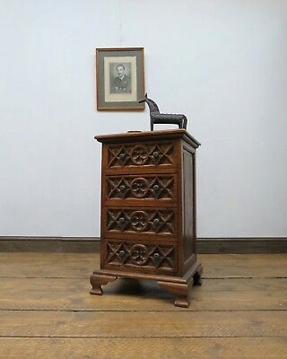 Small Gothic Carved Chest of Drawers, Quality Oak Bedside Chest