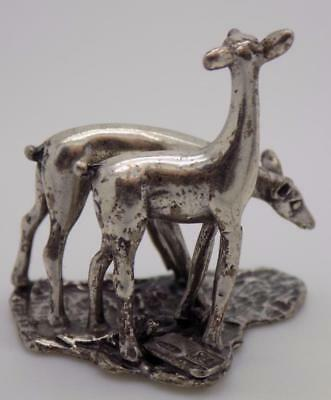 Vintage Sterling Silver 925 Italian Made RARE Fawns Miniature, Figurine, Stamped