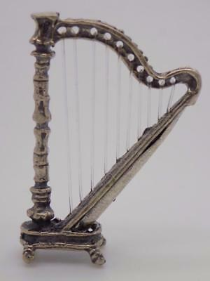 Vintage Solid Silver Italian Made Harp Miniature, Figurine, Stamped, Dollhouse