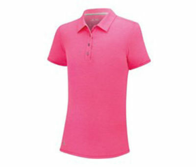 Adidas Essentials Short Sleeve Heathered Junior Girls Polo Golf Pink 14 Yrs