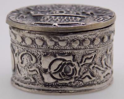 Vintage Solid Silver Italian Made 1 or 2 Pill / Snuff Box, Stamped, Handworked